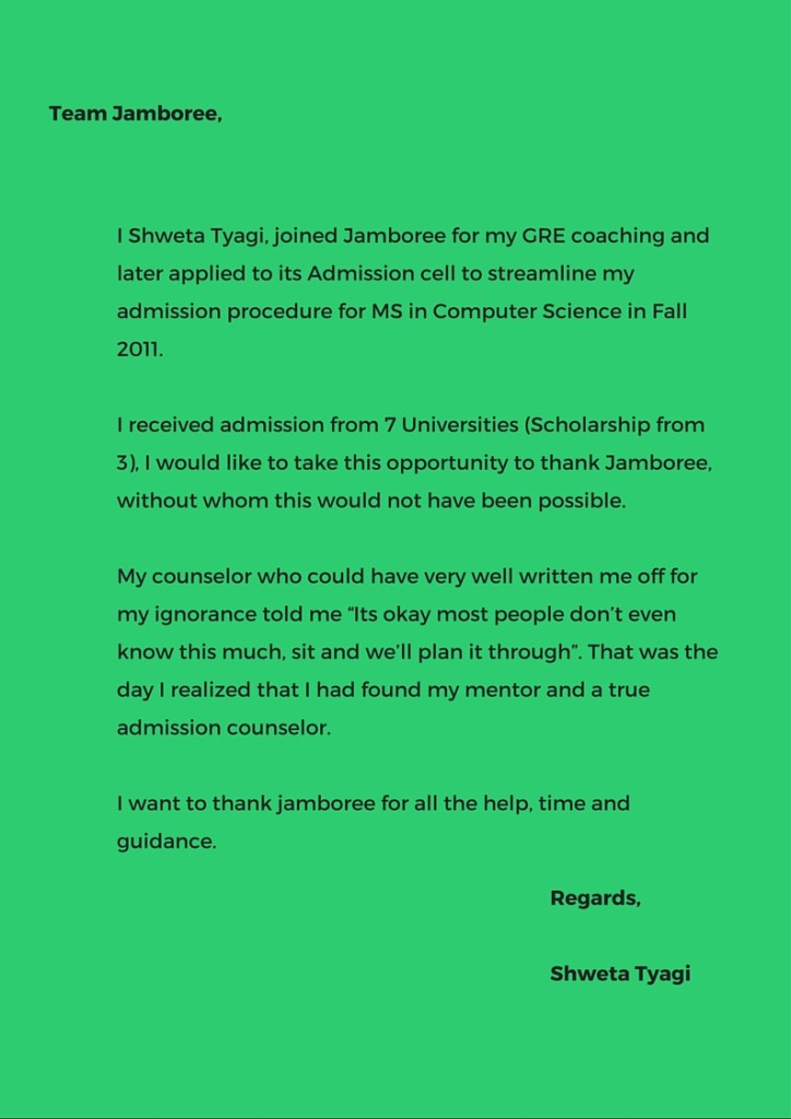 Letter from ex-Jamboree GRE Student